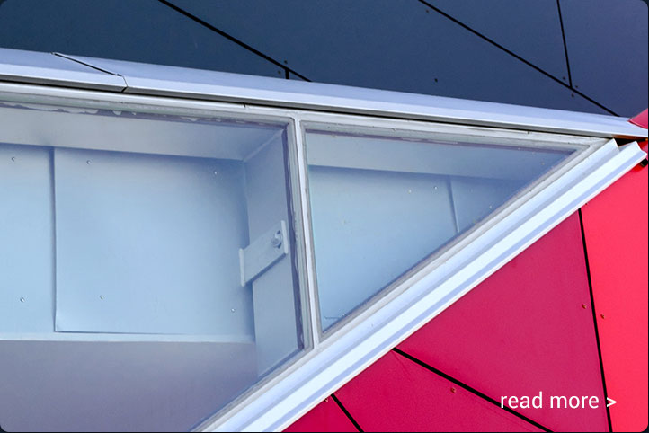 A closer crop of colorful windows and angles for Converged Infrastructure by CyberNorth.